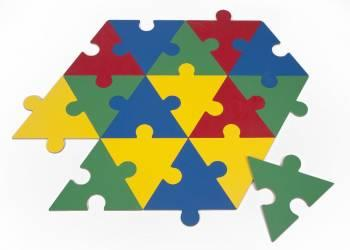 Puzzlelations: Four Color Triangle-Shaped Puzzle Pieces