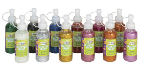 Creativity Street Non-Toxic Washable Glitter Glue, 4 oz Bottle, Assorted Color, Pack of 12